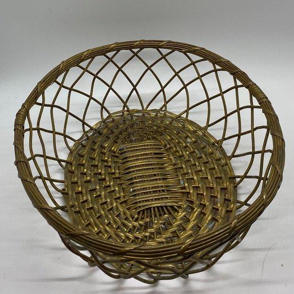 BoHo VINTAGE Brass Woven Metal Basket